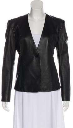 Theyskens' Theory Collarless Leather Jacket