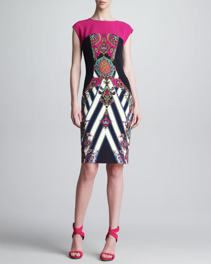Etro Mixed-Print Cap-Sleeve Sheath Dress, Pink/Black
