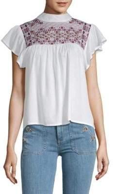 Raga Diana Embroidered Ruffled Top