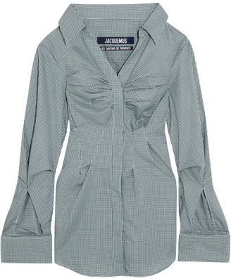 Jacquemus - Checked Cotton Shirt - Forest green $460 thestylecure.com