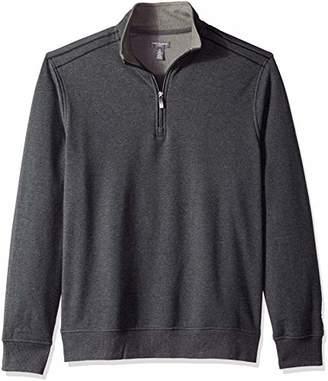 Van Heusen Men's Flex 1/4 Zip Texture Block Sweater Fleece