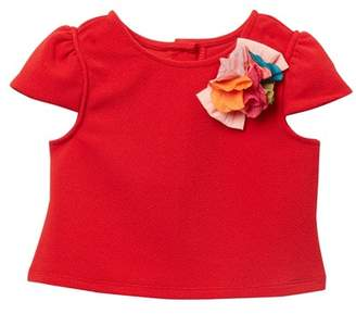 Pippa & Julie Solid Top with Floral Applique (Toddler & Little Girls)
