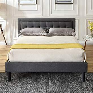 Classic Brands DeCoro Mornington Upholstered Platform Bed   Headboard and Metal Frame with Wood Slat Support   Grey