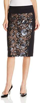 BCBGMAXAZRIA Women's Aideen Floral Sequin Pencil Skirt