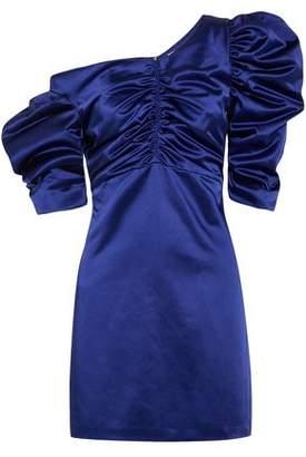 Isa Arfen One-Shoulder Ruched Cotton-Blend Satin Mini Dress