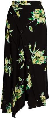 Proenza Schouler Lily-print asymmetric skirt