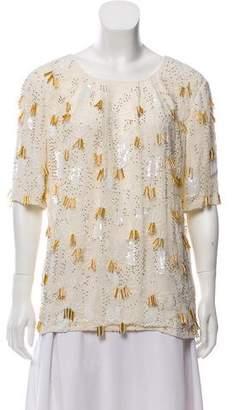 Naeem Khan Silk Embellished Top