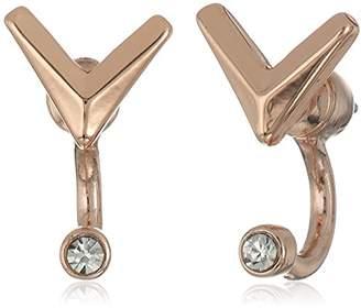Sam Edelman V Stone Rose Front/Back Earrings