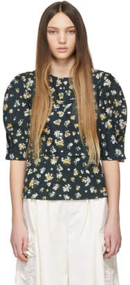 See by Chloe Green Flower Blouse