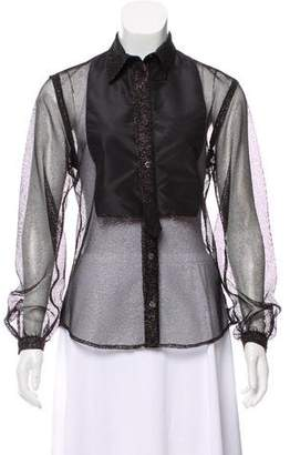 Alexis Mabille Open Knit Metallic Blouse