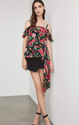 BCBGMAXAZRIA Off-The-Shoulder Floral Drape Top