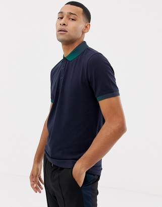 BOSS Playlist contrast collar polo in navy