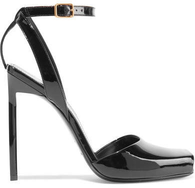 Saint Laurent - Edie Patent-leather Sandals - Black
