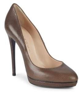 Casadei Almond-Toe Leather Platform Pumps