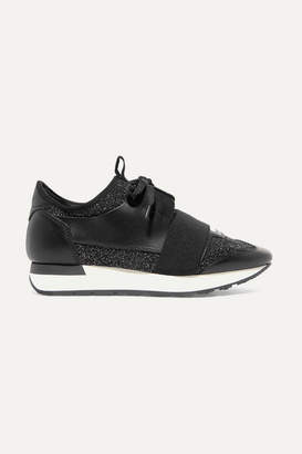 Balenciaga Race Runner Metallic Stretch-knit And Leather Sneakers - Black