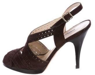 Oscar de la Renta Suede Cutout Sandals