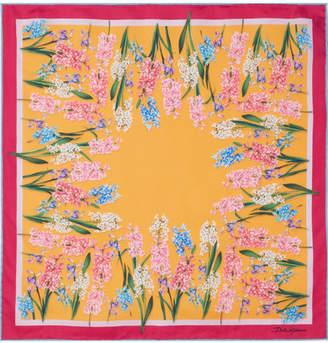 Dolce & Gabbana Floral-print Silk-twill Scarf - Saffron