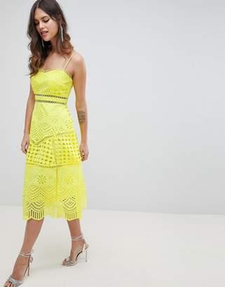 Asos DESIGN Premium Lace Broderie Prom midi dress