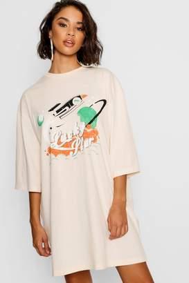 boohoo Lucky Star Vintage 3/4 Sleeve T-Shirt Dress