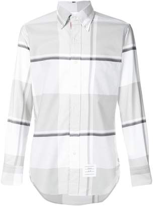 Thom Browne Oversized Repp Check Classic Long-sleeve Oxford Shirt