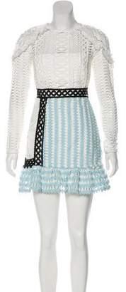Self-Portrait Long Sleeve Mini Dress