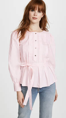 Rebecca Taylor Long Sleeve Belted Pop Top