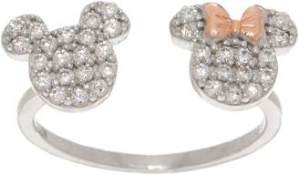 Disney Mickey's 90th Birthday Diamonique Mickey & Minnie Ring, Sterling