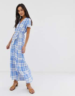 32c4aefac1 New Look tiered button through midi dress in blue check