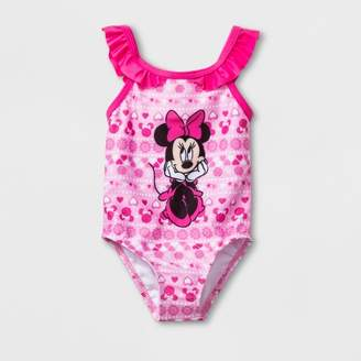 Disney Baby Girls' Mickey Mouse & Friends Minnie Mouse One Piece Swimsuit - Pink
