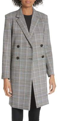 Theory Wool Plaid Square Coat