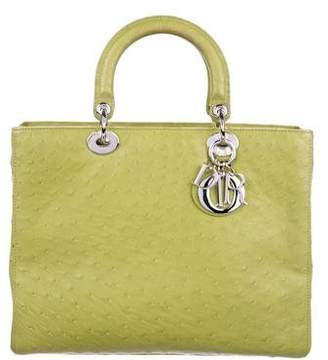 Christian Dior Ostrich Large Lady Bag