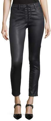 AG Adriano Goldschmied Farrah Lace-Up High-Rise Skinny-Leg Ankle Pants