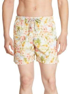 Saks Fifth Avenue COLLECTION Retro Tropical Printed Swim Trunks