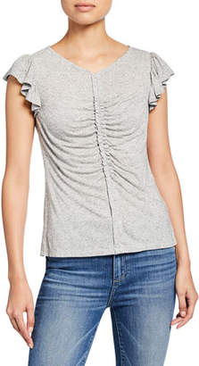 Rebecca Taylor Ruched Flutter-Sleeve Jersey Top