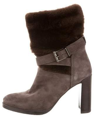Stuart Weitzman Suede Fur-Trimmed Boots
