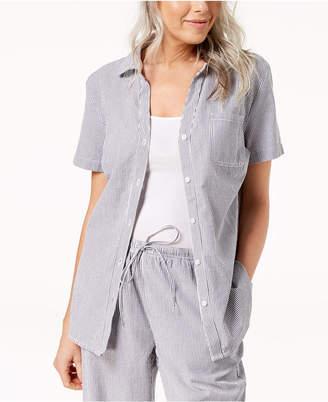 Karen Scott Petite Cotton Seersucker Shirt, Created for Macy's