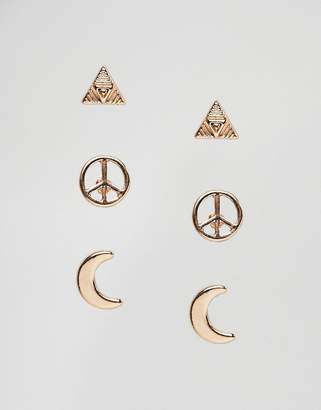 NY:LON Pack Of 3 Peace Moon And Triangle Stud Earrings