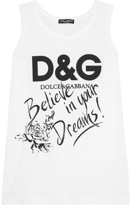 Dolce & Gabbana - Printed Cotton-jersey Tank - White $195 thestylecure.com