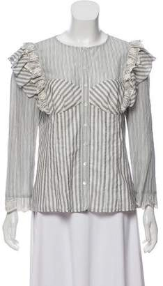 Rebecca Taylor Striped Embroidered Top w/ Tags