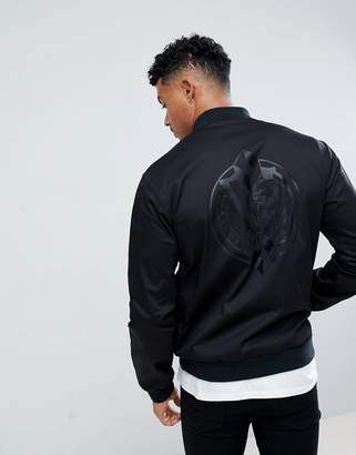 Versace Bomber Jacket In Black With Logo Back Print