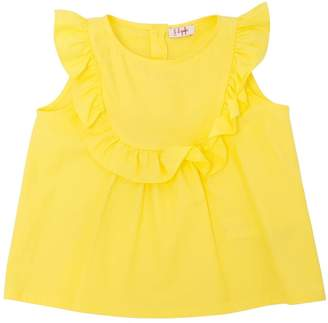 Il Gufo Ruffled Stretch Poplin Sleeveless Top