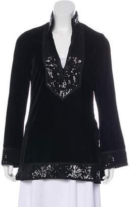 Tory Burch Embellished Velvet Tunic