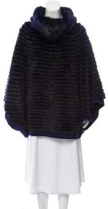 Fur Mink-Paneled Wool Poncho
