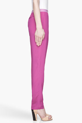 Maison Martin Margiela Fuchsia pleated silk Trousers