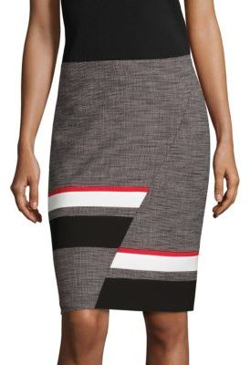 BOSS Vimina Tweed Abstract Stripe Pencil Skirt $265 thestylecure.com