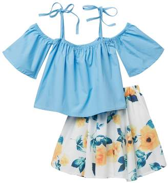 Funkyberry Top & Floral Print Skirt Set (Baby, Toddler, & Little Girls)
