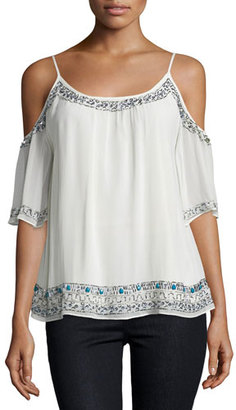 French Connection Island Maze Embellished Cold-Shoulder Top $106 thestylecure.com