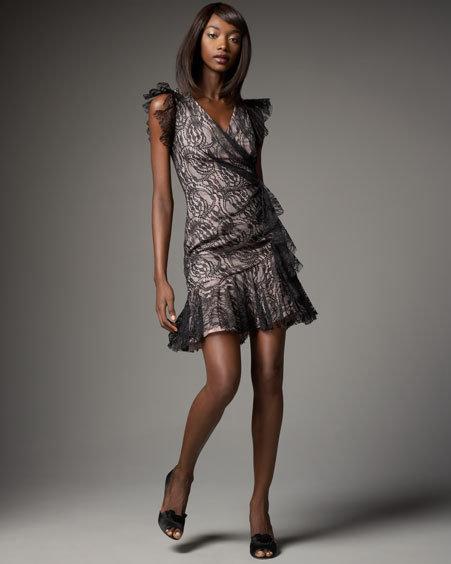 Yoana Baraschi Flutter-Sleeve Lace Dress