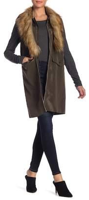 OnTwelfth Detachable Faux Fur Collar Bomber Vest