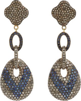 Black Diamond Carole Shashona & Sapphire Royalty Lotus Earrings